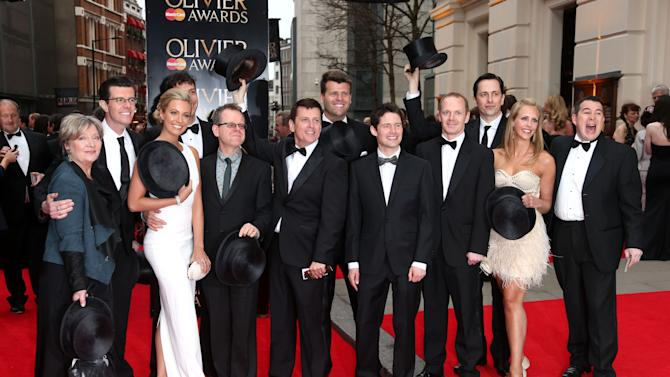"""Cast and Crew of """"Top Hat"""" seen at the Olivier Awards 2013 at the Royal opera House in London on Sunday, April 28th, 2013. (Photo by Joel Ryan/Invision/AP)"""