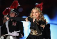 Madonna performs during the Bridgestone Super Bowl at Lucas Oil Stadium in February, in Indianapolis, Indiana. The iternational music icon has arrived in Israel to kick off her hotly anticipated world tour with a sold-out performance in Tel Aviv