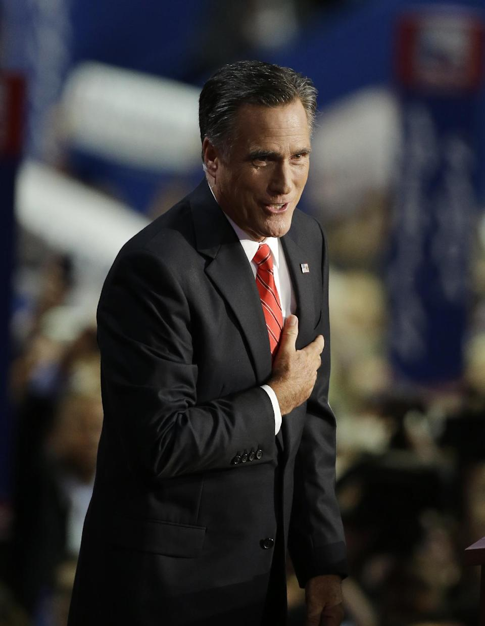 Mitt Romney accepts the nomination as the Republican candidate for U.S. president during the Republican National Convention in Tampa, Fla., on Thursday, Aug. 30, 2012.  (AP Photo/Charlie Neibergall)