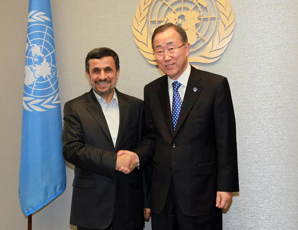 United Nations Secretary-General Ban Ki-moon, right, meets with Iranian President Mahmoud Ahmadinejad, left, at United Nations Headquarters for the 67th session of the General Assembly, Sunday, Sept.  23,  2012. (AP Photo/David Karp)