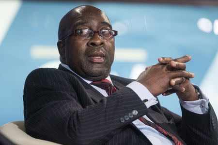 South African Finance Minister Nhlanhla Nene takes part in a discussion during the World Bank/IMF Annual Meeting in Washington