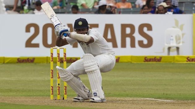 India's Murali Vijay plays a shot during the first day of the second cricket test match against South Africa