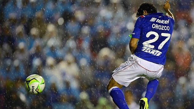 Javier Orozco of Cruz Azul scores against Santos during their Mexican Clausura Tournament semi-final (AFP)