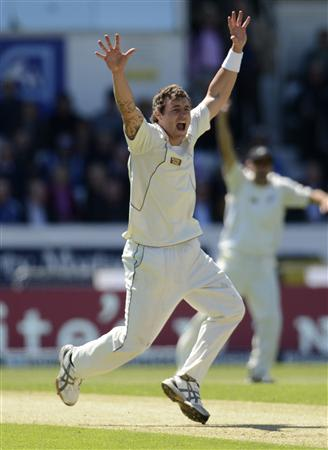 New Zealand's Bracewell appeals during the second test cricket match against England in Leeds