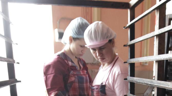 Employees work at a local bakery near Stavropol