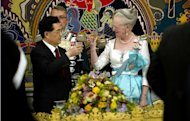 Demark's Queen Margrethe (R) and China's President Hu Jintao take part in an official state banquet at Christiansborg Palace in Copenhagen. 2012 is a vital year for China as it moves into a new five-year plan, an upbeat Hu said Friday in the first and only public speech of his three-day state visit to Denmark which ends Saturday