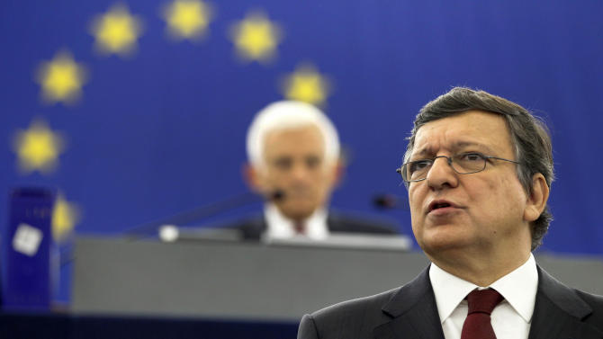 Jose Manuel Barroso, President of the executive European Commission, delivers a speech at the European Parliament in Strasbourg, Wednesday, Sept. 28, 2011. Barroso called for closer political and financial unification in Europe, as fractures emerged Wednesday among leaders on how to solve Greece's debt crisis. (AP Photo)