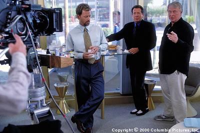 Mike Nichols (right) directs Garry Shandling (center) and Greg Kinnear (left) in Columbia's What Planet Are You From?