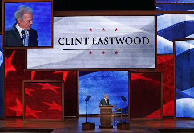Actor Clint Eastwood talks to an empty chair during his address to the Republican National Convention in Tampa, Fla., on Thursday, Aug. 30, 2012. (AP Photo/J. Scott Applewhite)