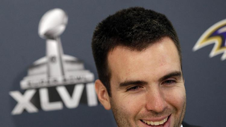 Baltimore Ravens quarterback Joe Flacco speaks at an NFL Super Bowl XLVII football news conference on Monday, Jan. 28, 2013, in New Orleans. The Ravens face the San Francisco 49ers in Super Bowl XLVII on Sunday, Feb. 3. (AP Photo/Patrick Semansky)