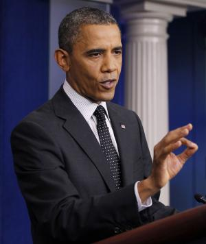 President Barack Obama gestures while speaking in the White House briefing room in Washington, Monday, Aug. 20, 2012. (AP Photo/Pablo Martinez Monsivais)