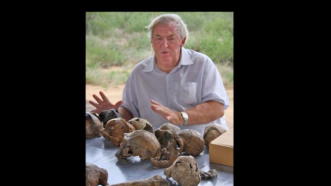 "In this 2008 photo provided by the Turkana Basin Institute, paleoanthropologist Richard Leakey discusses the evidence for human evolution over a collection of hominin fossil casts at the Turkana Basin Institute's Ileret research facility in northern Kenya. Leakey predicts skepticism over evolution will soon be history sometime in the next 15 to 30 years. ""If you get to the stage where you can persuade people on the evidence, that it's solid, that we are all African, that color is superficial, that stages of development of culture are all interactive,"" Leakey says, ""then I think we have a chance of a world that will respond better to global challenges."" (AP Photo/Turkana Basin Institute, Bob Campbell)"