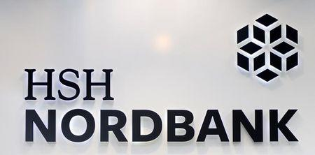 The HSH Nordbank logo is pictured in Hamburg