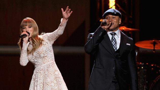 Taylor Swift and rapper LL Cool J perform onstage at The GRAMMY Nominations Concert Live! held at Bridgestone Arena on December 5, 2012 in Nashville -- Getty Images