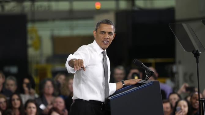 Obama pitches manufacturing plan on plant tour