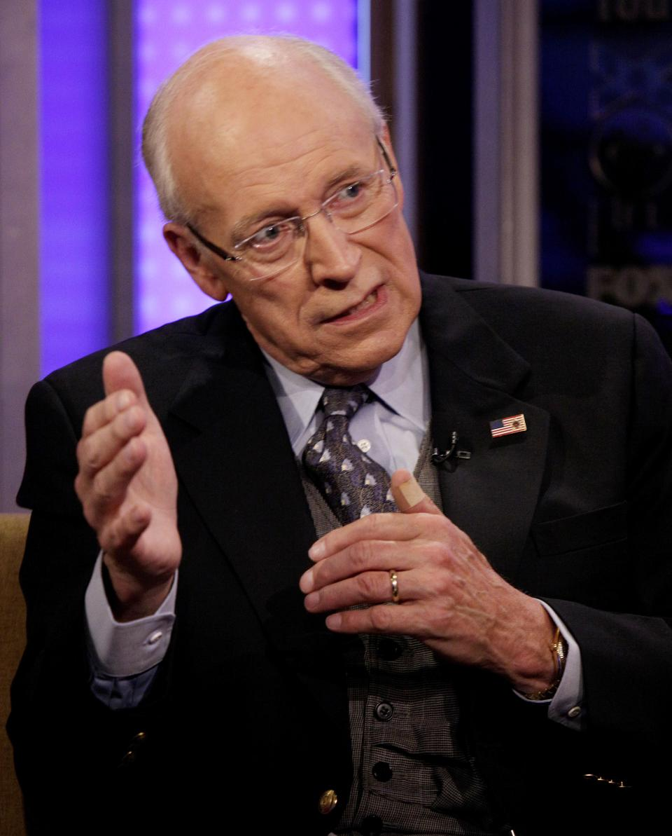 "Former Vice President Dick Cheney, left, is interviewed on the ""Fox & friends"" television program, about his book ""in My Time,"" in New York Wednesday, Aug. 31, 2011. (AP Photo/Richard Drew)"