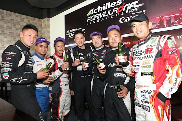 Drivers at the Achilles Formula Drift Singapore 2012 Drivers' Press Conference 28 June 2012 held at the MOA Brewing Company (Photo courtesy of Achilles Formula Drift Singapore)