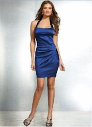 stretch satin halter dress blue