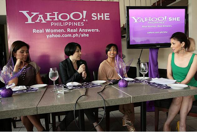 Yahoo! SHE panelists Patricia Hizon, Pia Magalona and Lori Baltazar with program host Bianca Valerio