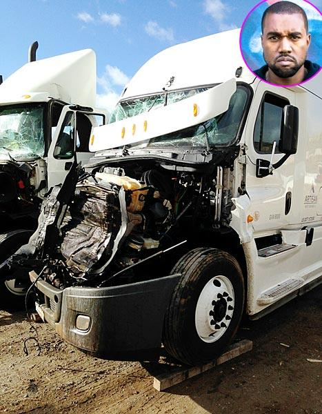 Kanye West Postpones Yeezus Tour After Accident: See a Picture of the Totaled Freight Truck