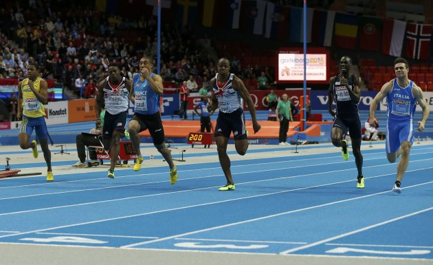 Vicault of France finishes first in the 60m Men Final at the European Athletics Indoor Championships in Gothenburg