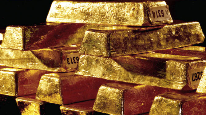 """FILE - An undated photo provided by Germany's Deutsche Bundesbank shows bars of gold. Germany's federal auditors' office says the country's central bank should control its gold reserves worth dozens of billions of dollars that are stored in the United States, Britain and France. The auditors criticized in a report to lawmakers obtained by The Associated Press on Monday, Oct. 22, 2012, that Germany's gold reserves stored abroad """"have never been physically checked by the Bundesbank itself or other independent auditors regarding their authenticity or weight."""" (AP Photo/Deutsche Bundesbank, Frankfurt am Main, Deutschland, File) - MANDATORY CREDIT: DEUTSCHE BUNDESBANK, FRANKFURT AM MAIN - NO SALES -"""