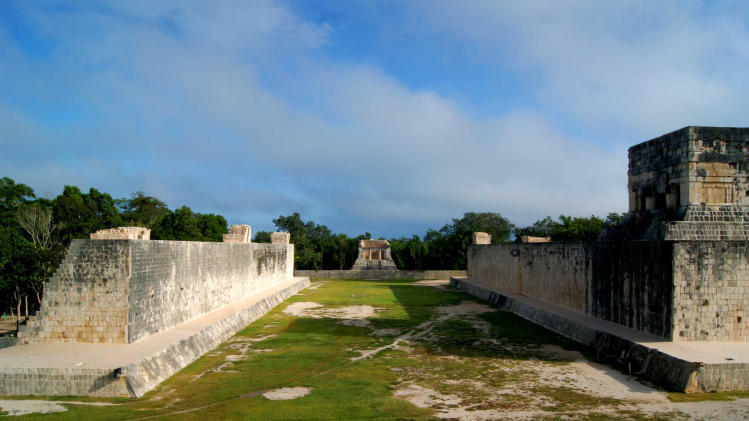 In this undated image released by Mexico's National Institute of Anthropology and History on Oct. 5, 2012, shows a ceremonial ball court at the temples of Chichen Itza on the Yucatan Peninsula, Mexico.  Mexican archaeologists say they have determined that the ancient Mayas built watchtower-style structures atop the ceremonial ball court to observe the equinoxes and solstices, and they said that the discovery adds to understanding of the many layers of ritual significance that the ball game had for the culture. (AP Photo/INAH)