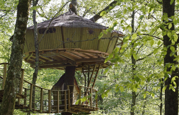 General view of a tree-house in Le Pian Medoc, southwestern France