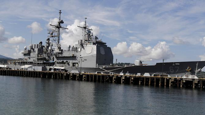 The USS Shiloh (CG-67), a U.S. Navy guided-missile cruiser, is docked at a port along Subic Bay, Zambales