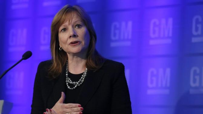 General Motors CEO Barra holds a media briefing in Detroit
