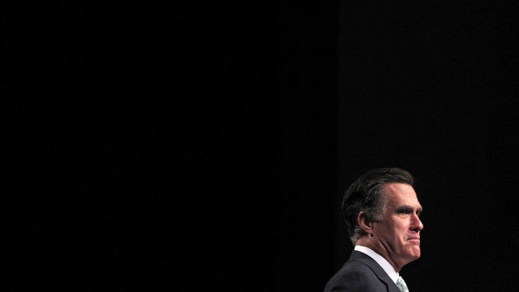 Republican presidential candidate, former Massachusetts Gov. Mitt Romney speaks at a campaign stop in Lansing, Mich., Tuesday, May 8, 2012. (AP Photo/Jae C. Hong)