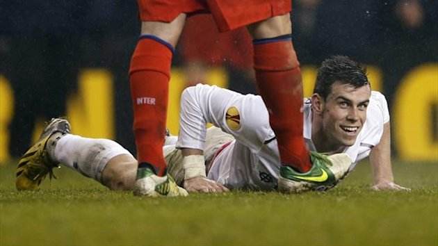 Gareth Bale is booked for diving against Inter (Reuters)