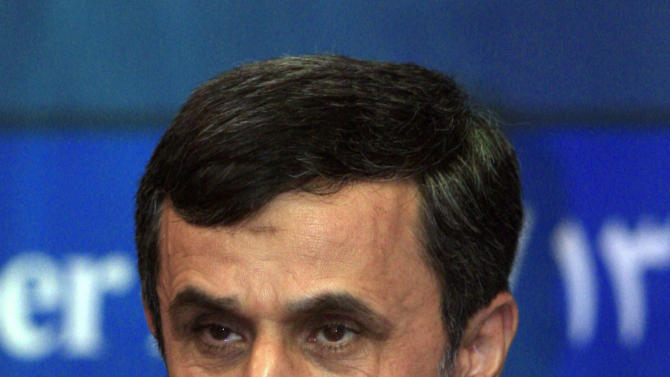 Iranian President Mahmoud Ahmadinejad pauses during a press conference on the sidelines of the Bali Democracy Forum in Nusa Dua, Bali, Indonesia, Thursday, Nov. 8, 2012. (AP Photo/Dita Alangkara)
