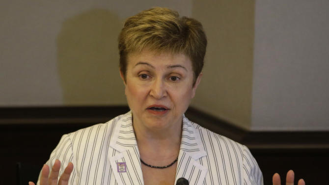 """Kristalina Georgieva, right, European Union Commissioner for International Cooperation, gestures during a news conference following the opening of the Asia Europe Meeting (ASEM) Conference on Disaster Risk Reduction and Management Thursday, June 5, 2014, in Manila, Philippines. Some 200 participants from governments, international organizations and civil society groups convened Thursday on how best countries will respond to the """"global challenge of disasters."""" (AP Photo/Bullit Marquez)"""