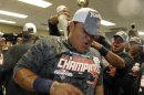 Tigers&#039; Cabrera Is Doused With Champagne After The Team Clinched The MLB American League Central Division In Kansas City