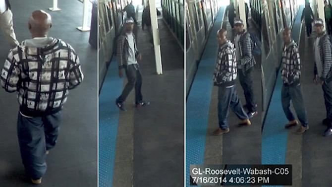 This combination of surveillance photos taken July 16, 2014 and released by the Chicago Police Department shows two men on a Chicago Transit Authority train platform that Chicago police are looking for who they say robbed multiple passengers on an Orange Line train at gunpoint. No passengers were hurt, but the men stole various items including wallets, phones and jewelry from multiple riders. (AP Photo/Chicago Police Department)