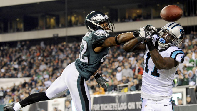 Philadelphia Eagles cornerback Brandon Boykin, left, breaks up a pass intended for Carolina Panthers wide receiver Brandon LaFell in the second half of an NFL football game, Monday, Nov. 26, 2012, in Philadelphia. (AP Photo/Michael Perez)