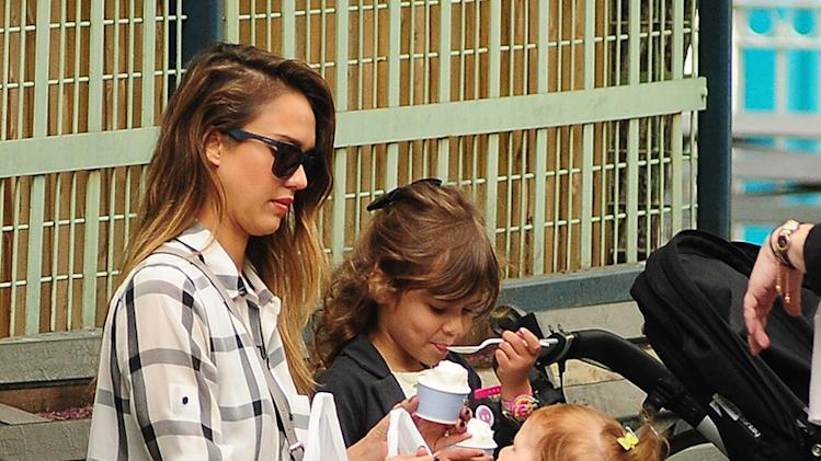 Jessica Alba walks in SoHo with her daughters Honor and Haven