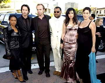 Premiere: Jada Pinkett Smith, Keanu Reeves, Hugo Weaving, Laurence Fishburne, Monica Bellucci and Carrie Anne Moss pose for the Matrix Pageant at the Hollywood premiere of Warner Brothers' The Matrix: