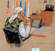"This courtroom sketch by artist Janet Hamlin shows self-declared 9/11 mastermind Khalid Sheikh Mohammed (L) wearing a military-style camouflage vest as he appears before Judge Pohl (R) during a pre-trial hearing at the US Naval Base in Guantanamo Bay, Cuba. Sheikh Mohammed delivered a scathing anti-American diatribe in what the judge called a ""one-time occurrence."""