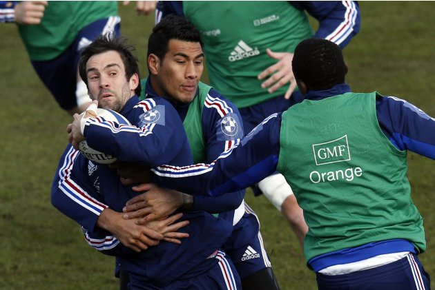 France's rugby players Morgan Parra and Sebastien Vahaamamina attend a training session at the Rugby Union National Centre in Marcoussis