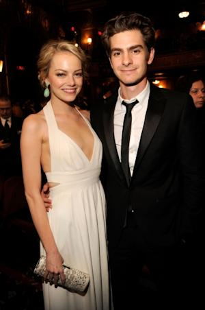 Emma Stone and Andrew Garfield steps out at the 66th Annual Tony Awards at The Beacon Theatre in New York City on June 10, 2012 -- Getty Premium