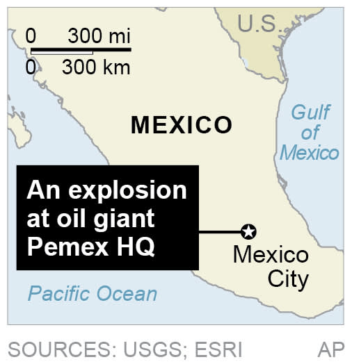 Map locates explosion in Mexico City