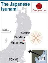 Graphic showing the epicentre of the earthquake which struck Japan a year ago. Nationwide, 500 bodies recovered after the huge waves swept ashore have still not been identified, and more than 3,000 of those who died have never been found