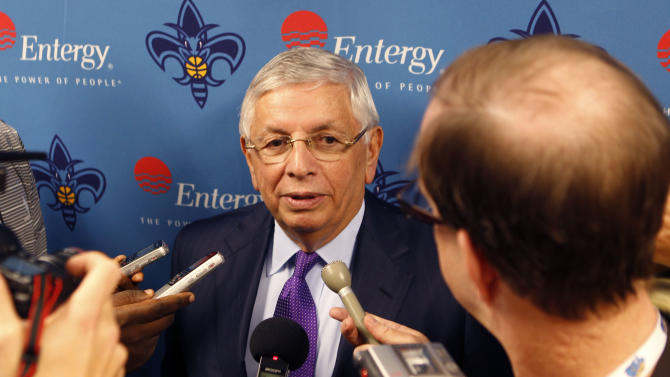 NBA Commissioner David Stern talks to reporters before a basketball game between the New Orleans Hornets and the Los Angeles Lakers in New Orleans, Wednesday, Dec. 5, 2012. (AP Photo/Gerald Herbert)