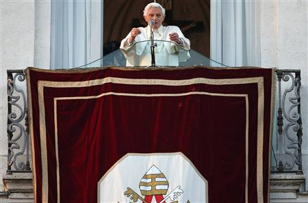 Pope Benedict XVI speaks to the faithful for the last time from the balcony of his summer residence in Castel Gandolfo