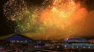 Raw: Fireworks at Olympics Closing Ceremony