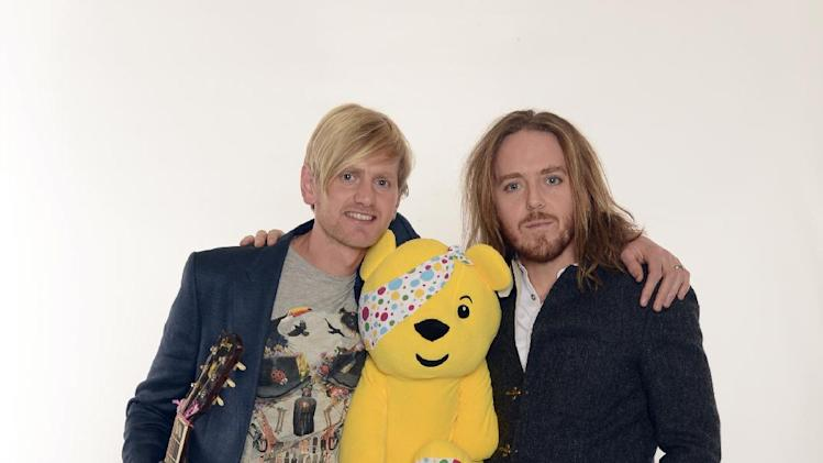 Dan Clews, left, and Tim Minchin are seen backstage at BBC's Children in Need at Television Centre on Friday, Nov. 16, 2012, in London. (Photo by Jon Furniss/Invision for Children in Need/AP Images)