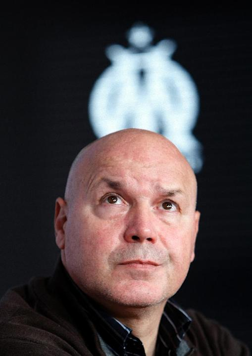 Marseille soccer club  general Manager Jose Anigo, attends a press conference in Marseille, southern France, Monday, Dec. 9, 2013. Jose Anigo is the new coach and replaces Elie Baup the last trainer,