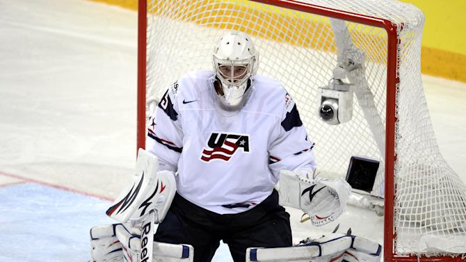 U.S. goalie John Gibson during the Ice Hockey World Championship preliminary round match against Finland in Helsinki, Finland, Wednesday May 8, 2013. (AP Photo/Lehtikuva/Martti Kainulainen) FINLAND OUT